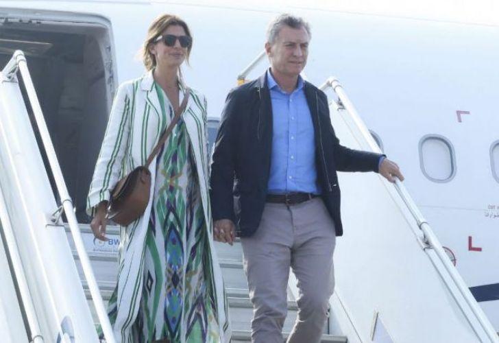 President Mauricio Macri and First Lady Juliana Awada arrive to India in February, 2019.