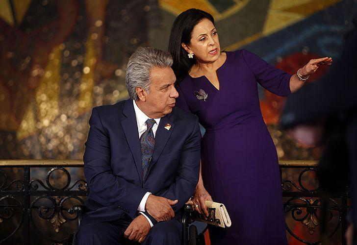 Ecuador President Lenín Moreno speaks with his wife Rocio González at the Carondelet Palace in Quito.