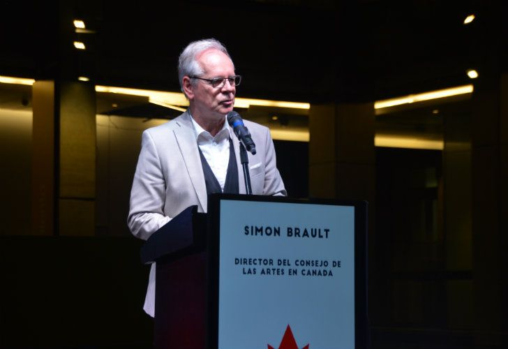 Simon Brault, President and CEO of the Canadian Council for the Arts, speaking at the Centro Cultural de Kirchner on Monday.
