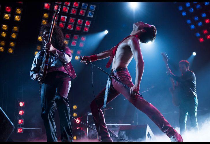 Rami Malek performing as Freddy Mercury in a scene from the film