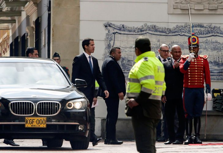 Venezuelan opposition leader and self-declared acting president Juan Guaidó arrives at the Foreign Ministry in Bogotá to take part in a meeting with Foreign Ministers of the Lima Group on next steps in Venezuela crisis, on February 25, 2019.