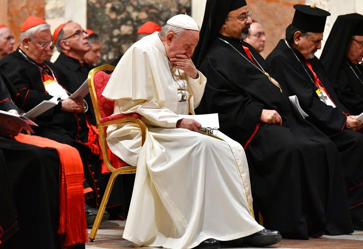 Pope Francis attends a penitential liturgy at the Vatican.