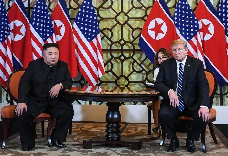 US President Donald Trump and North Korea's leader Kim Jong Un hold a meeting during the second US-North Korea summit at the Sofitel Legend Metropole hotel in Hanoi on February 28, 2019.