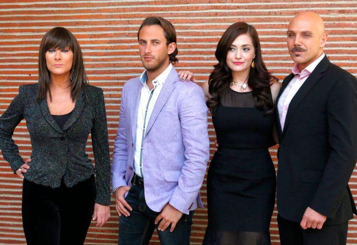 "Actress Christian Bach and, from left to right, Sebastián Zurita, Lisette Morelos and Manuel Landeta of Telemundo's telenovela ""La impostora"", 8th of February 2014"