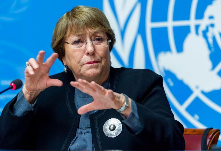 U.N. High Commissioner for Human Rights Michelle Bachelet speaks during a press conference at the European headquarters of the United Nations in Geneva, Switzerland.