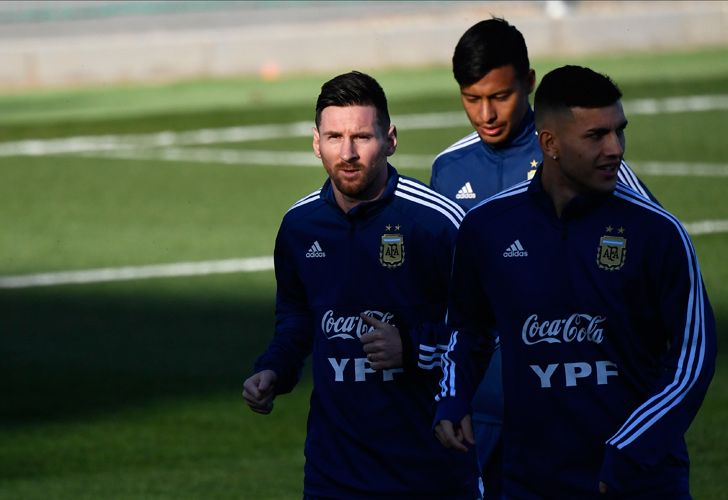 Lionel Messi and teammates attend a training session at the Real Madrid's training facilities of Valdebebas in Madrid on March 18, 2019, ahead of the international friendly match between Argentina and Venezuela.