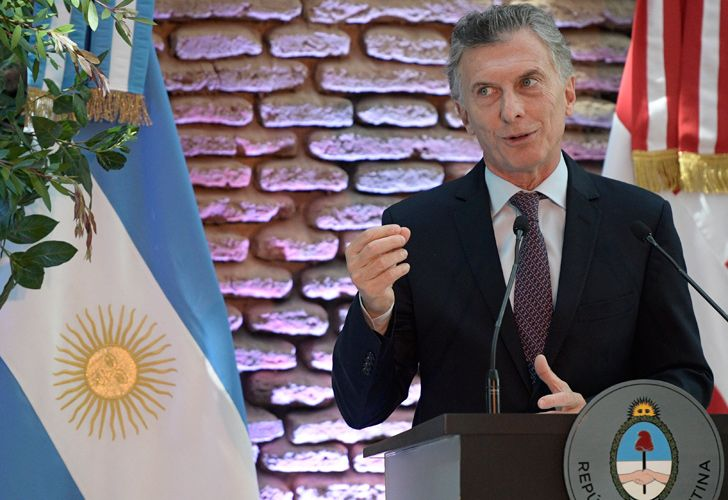President Mauricio Macri delivers a speech at the Casa Rosada.