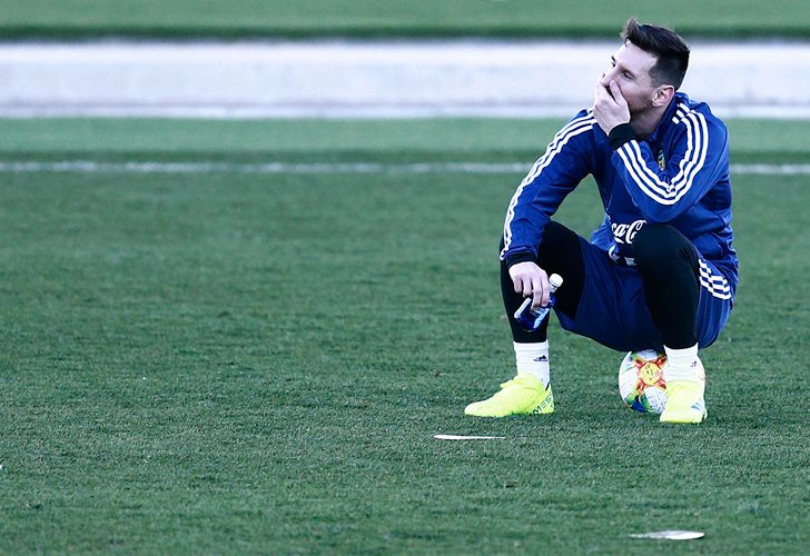 Lionel Messi attends a training session at Real Madrid's training facilities of Valdebebas in Madrid.
