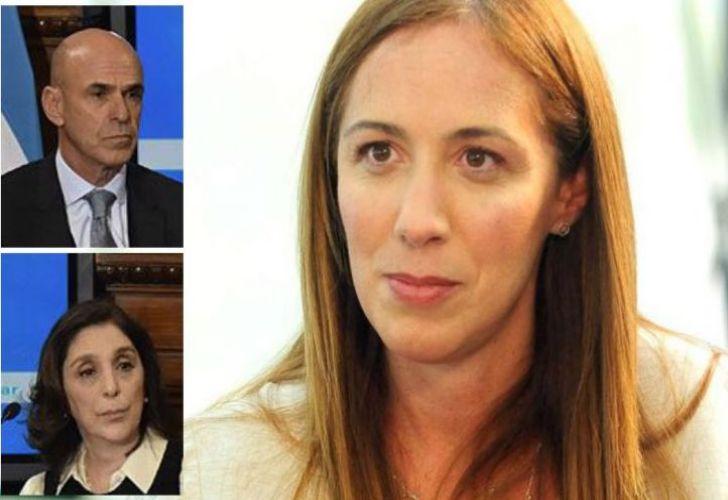 Maria Eugenia Vidal (centre), and AFI chiefs Gustavo Arribas and Silvia Majdalani (inserts).