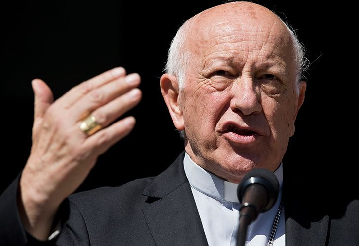 Cardinal Ricardo Ezzati, former archbishop of Santiago gestures after a press conference on Saturday, March 23, 2019 in Santiago, Chile. Pope Francis has replaced Ezzati , the embattled archbishop of Santiago, Chile, after he became embroiled in the country's spiralling sex abuse and cover-up scandal.