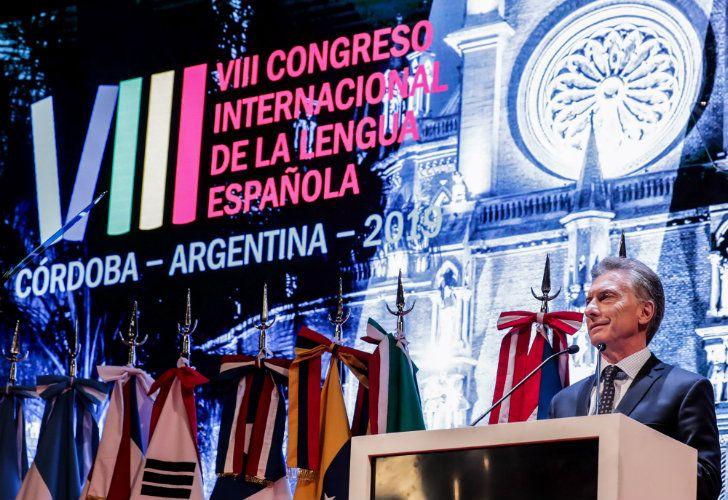 Macri at the Spanish Language International Congress.