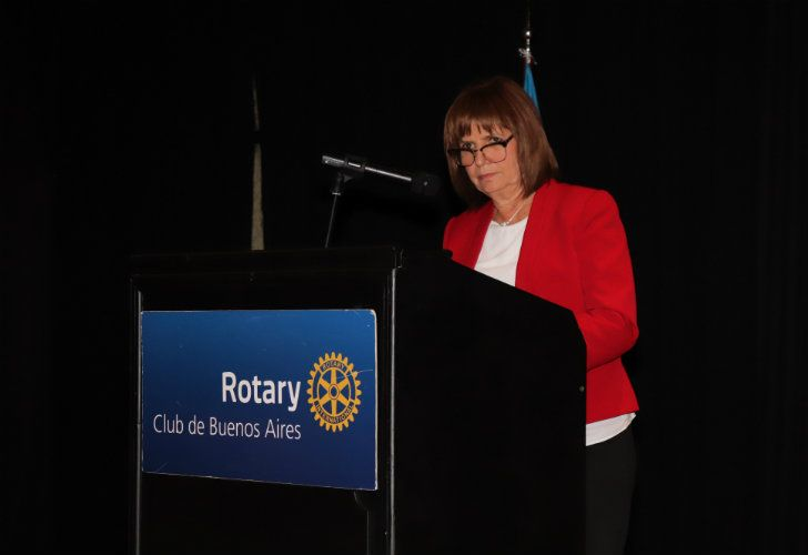 Security Minister Patricia Bullrich addresses the Rotary Club in Buenos Aires.