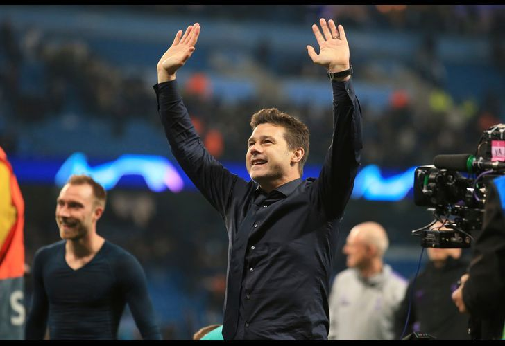 Tottenham coach Mauricio Pochettino waves to fans during the Champions League quarterfinal, second leg, football match between Manchester City and Tottenham Hotspur at the Etihad Stadium in Manchester, England, Wednesday, April 17, 2019.