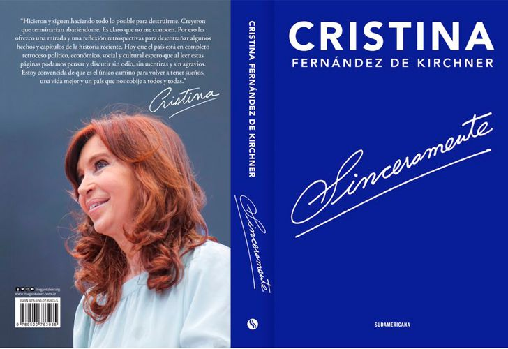 The front and back cover of Cristina Fernández de Kirchner's new book, 'Sinceramente.'