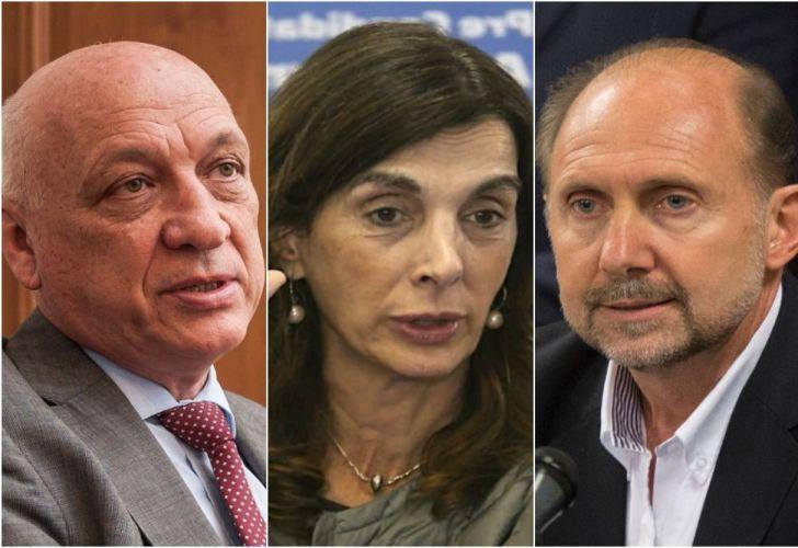 Contenders for the governship of Santa Fe, from left to right: Antonio Bonfatti, María Eugenia Bielsa and Omar Perotti.