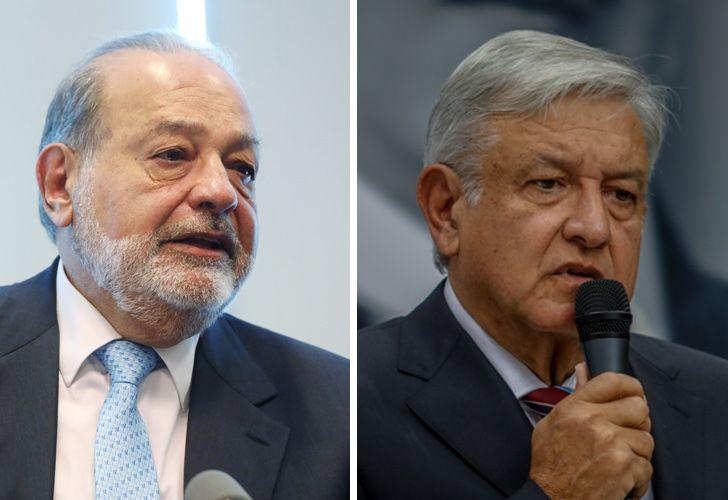 Carlos Slim (left) and Andrés Manuel López Obrador.