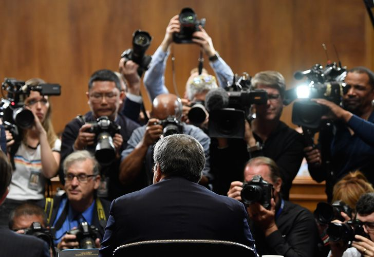 US Attorney General William Barr is photographed as he sits down to testify before the US Senate Judiciary Committee on Capitol Hill in Washington, Wednesday, May 1, 2019.