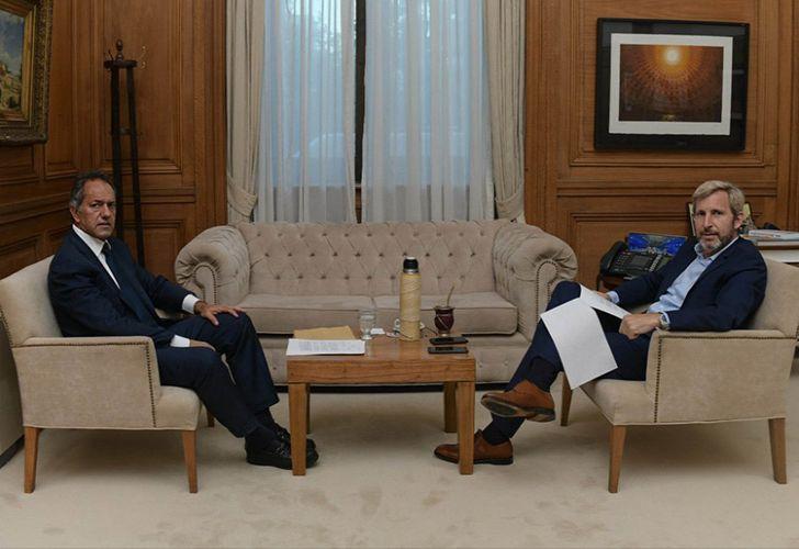 Former Buenos Aires governor Daniel Scioli with Interior Minister Rogelio Frigerio.