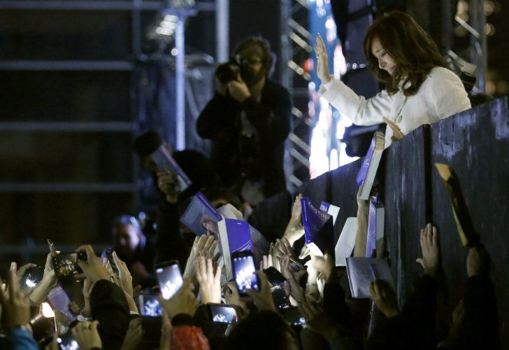 Cristina Fernández de Kirchner greets her supporters after presenting her book at the Buenos Aires International Book Fair on Thursday.