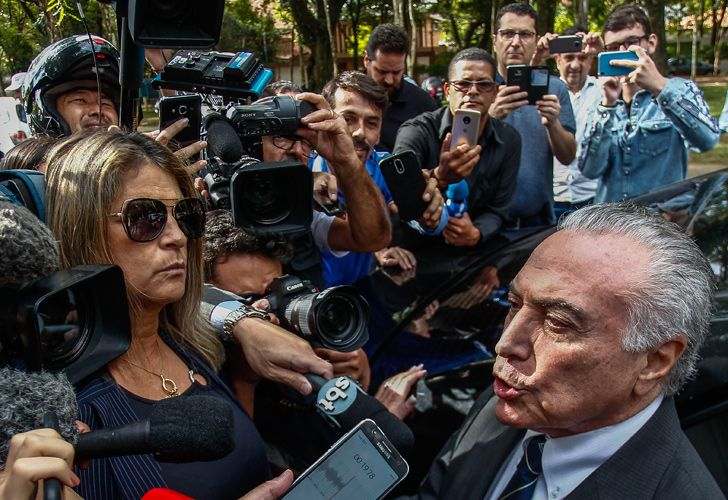 Brazil's former president Michel Temer talks to the press on his arrival to his house after the Superior Court of Justice decided unanimously to release him from preventive prison in São Paulo, Brazil on May 15, 2019.